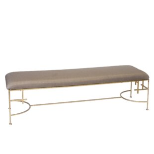 Worlds Away Hammered Upholstered Bench