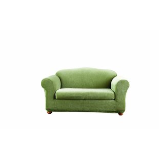 Stretch Stripe Box Cushion Loveseat Slipcover