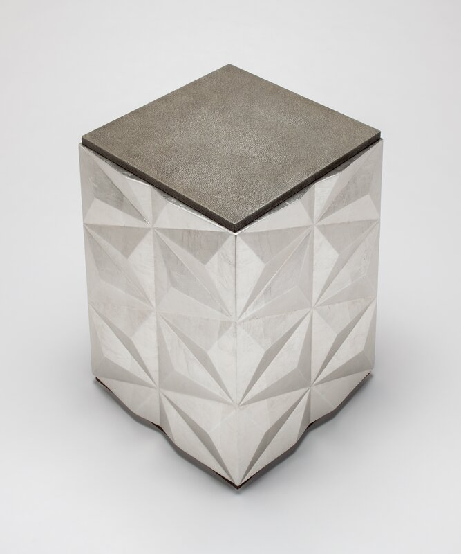 Artmax Glass Top Block End Table
