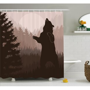 Avers Wild Bear Night Jungle Shower Curtain ByLoon Peak