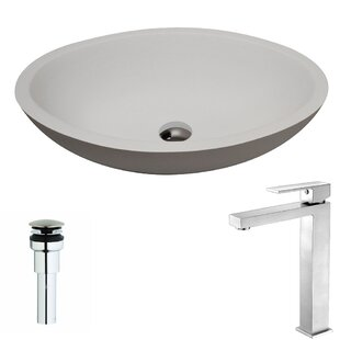 ANZZI Maine Stone Oval Vessel Bathroom Sink with Faucet