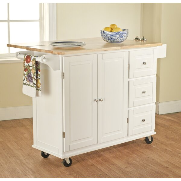 Three Posts Hardiman Kitchen Island With Wood Top U0026 Reviews | Wayfair