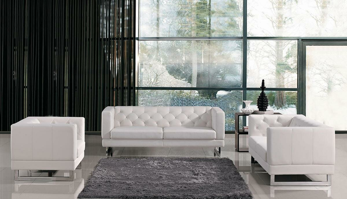 modern living room sets  allmodern - renee modern tufted ecoleather living room set
