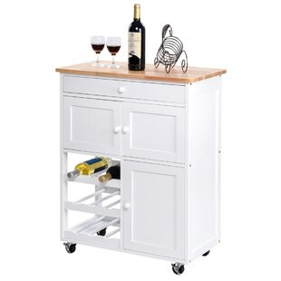 Laikipia Kitchen Cart with Solid Wood Top by Red Barrel Studio