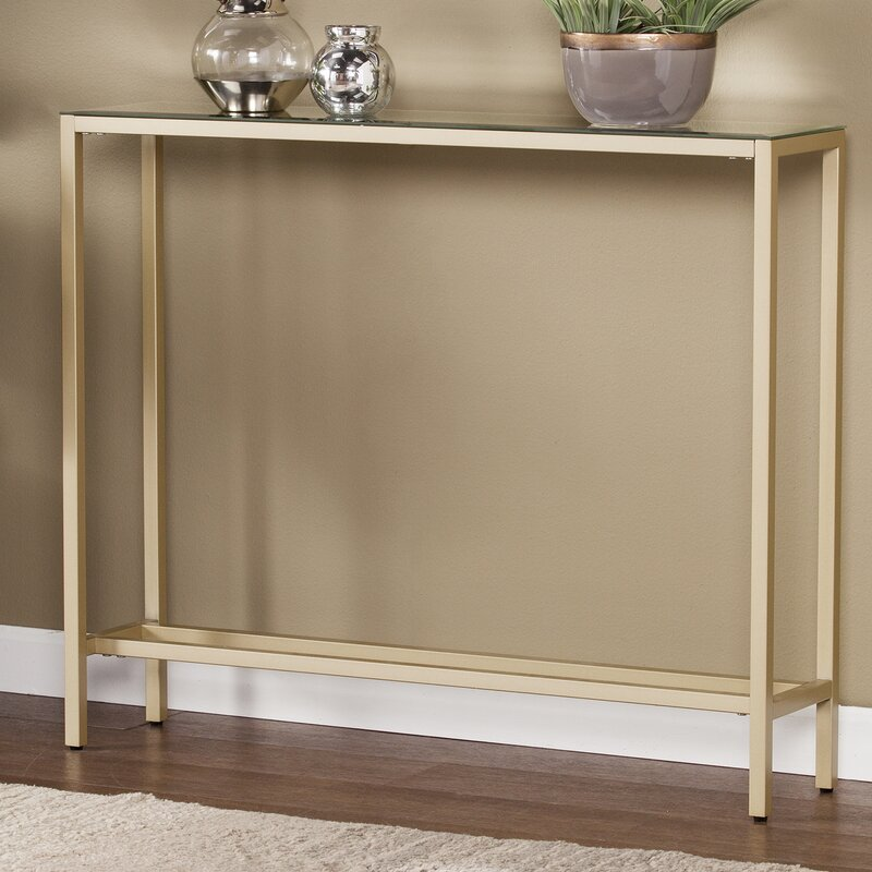 Mercer41 Romaine Console Table with Mirrored Top