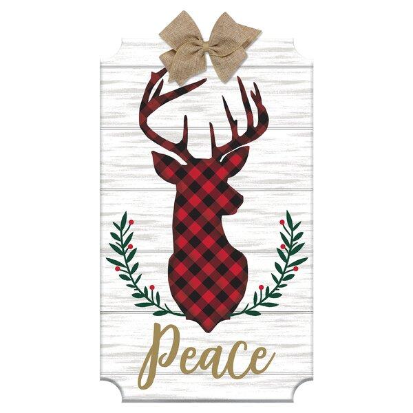 Peace Christmas Sign.Christmas Peace Deer Head Sign