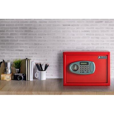 05 Cubic Feet Wall Safe with Electronic Lock AdirOffice Size 15 H x 12 W x 12 D Finish Red