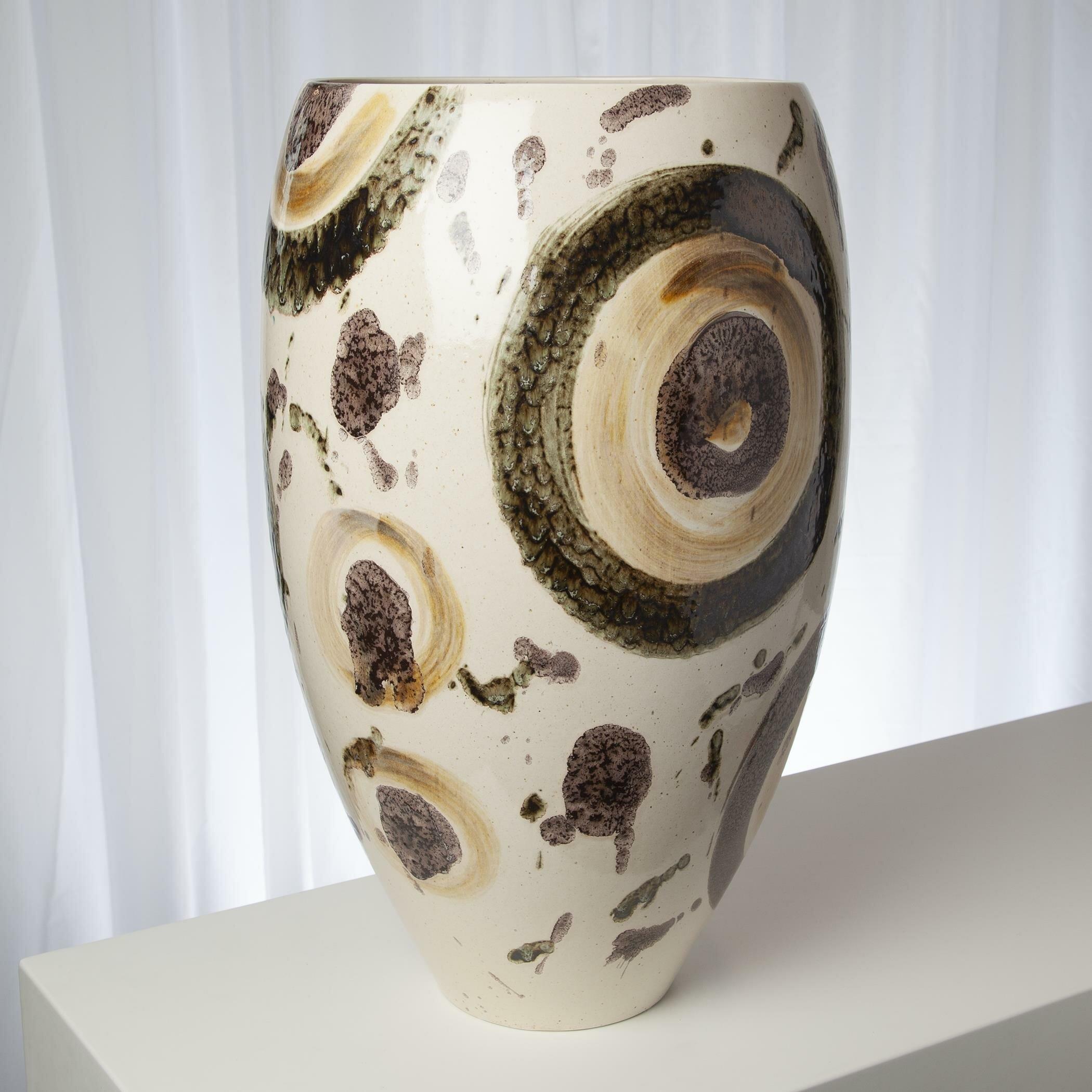Earthtone White/Brown 20.20'' Ceramic Table Vase