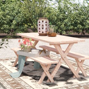 Handanyan Pine Cross-leg Picnic Table with 2 Benches