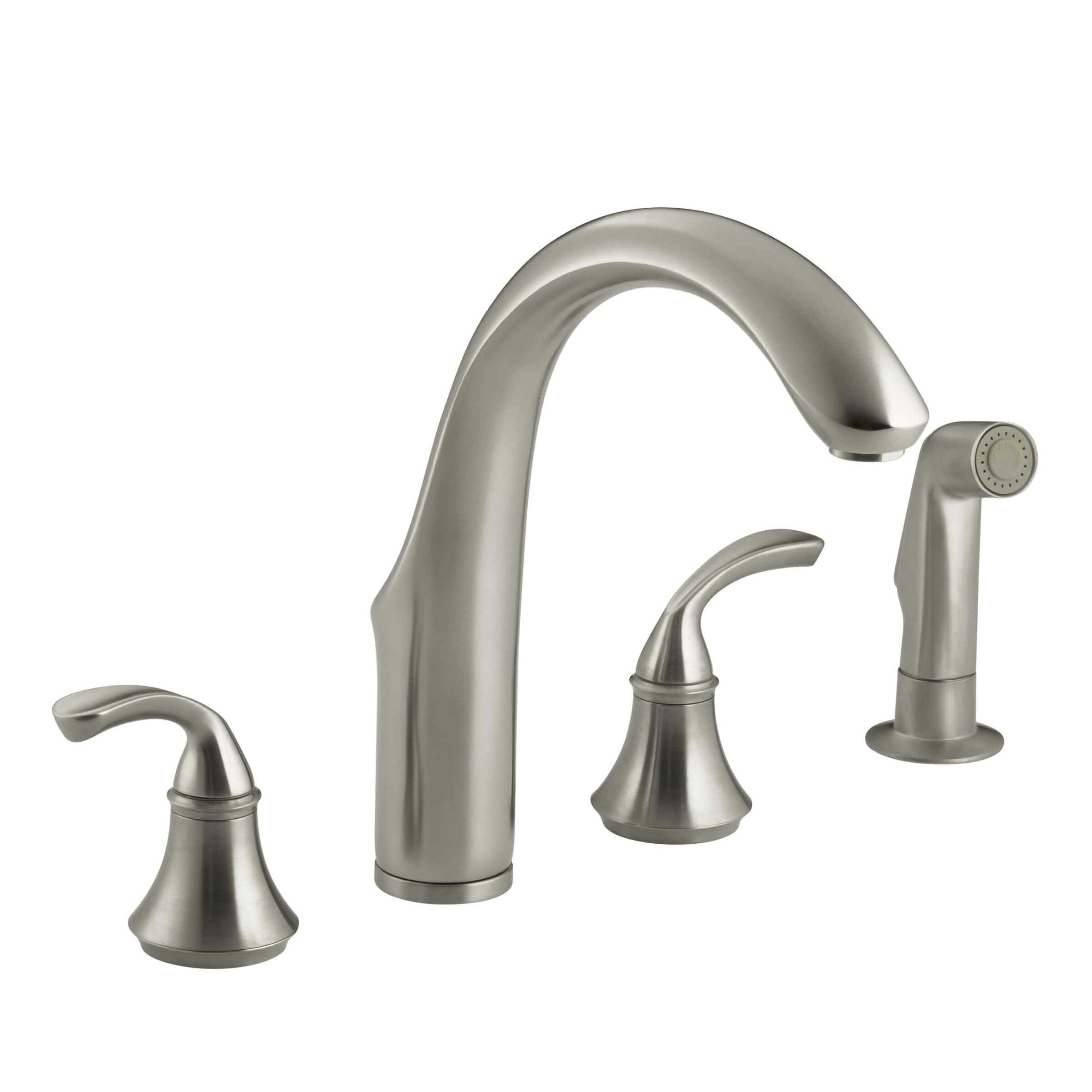 K 10445 Bn Kohler Forte 4 Hole Kitchen Sink Faucet With 7 3 4 Spout Matching Finish Sidespray Reviews Wayfair
