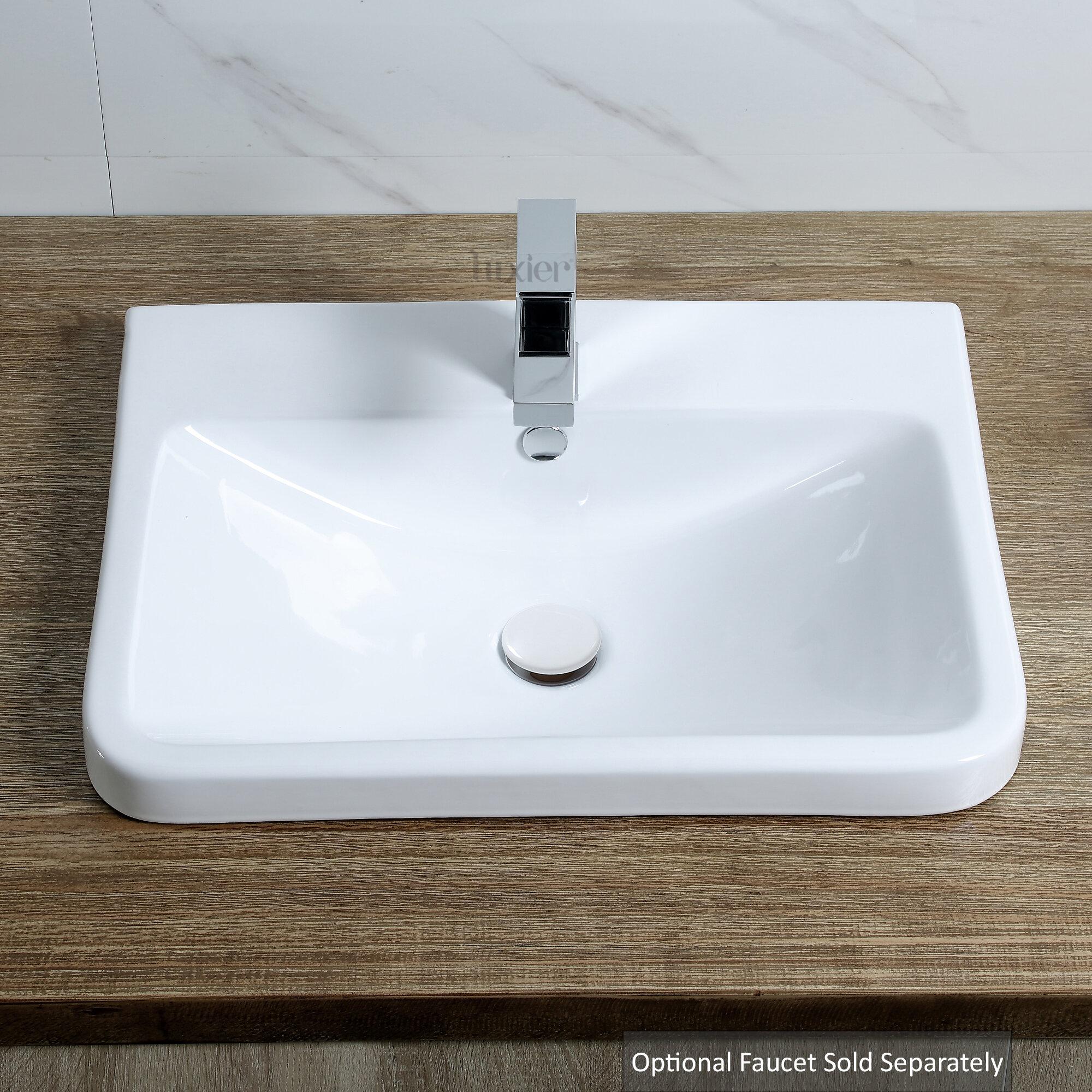 White Ceramic Rectangular Vessel Bathroom Sink with Overflow