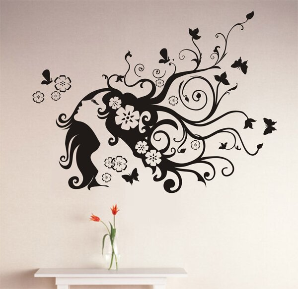 Superb Flower Girl Wall Decal