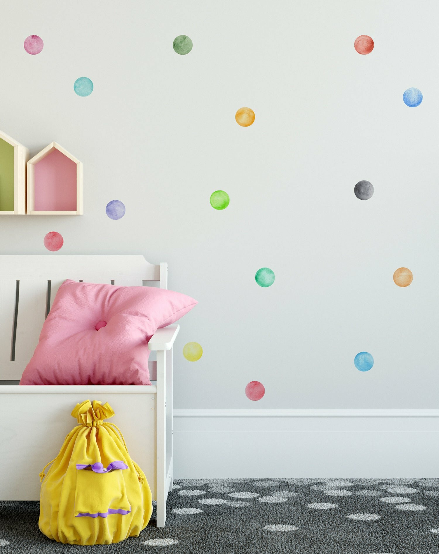 Orange//Yellow Circles Polka Dots Vinyl Wall Graphic Decals Stickers Set of 30