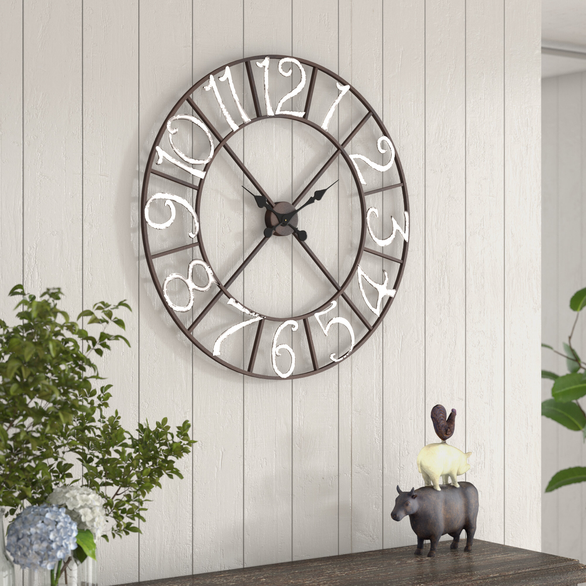 Ophelia Co Oversized Easterwood Metal Wall Clock Reviews Wayfair Ca