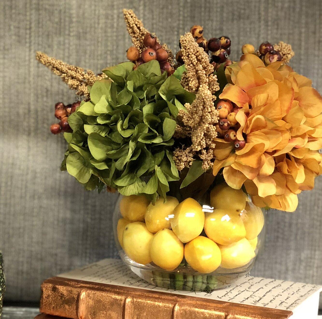 Charlton Home Mixed Hydrangeas Flower Centerpiece In Decorative Vase Reviews Wayfair
