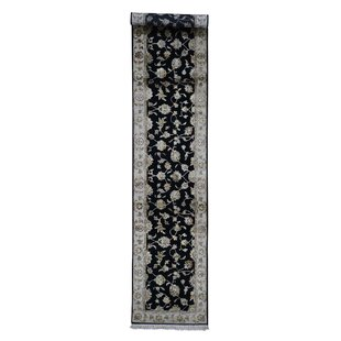 Find for One-of-a-Kind Bancroft Hand-Knotted 2'6 x 12' Wool/Silk Black/Gray Area Rug By Isabelline