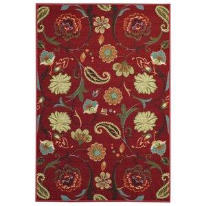 Harland Floral Red Indoor Doormat