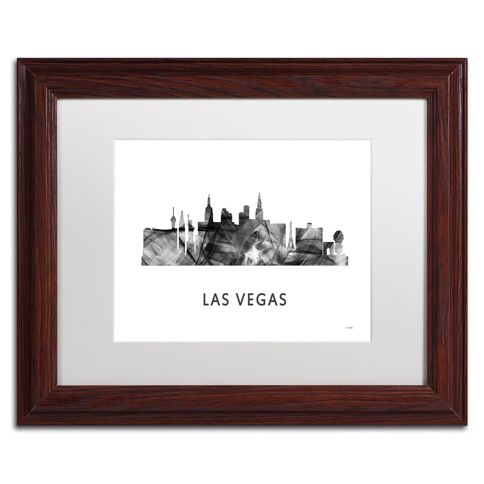 Trademark Art Las Vegas Nevada Skyline 2 Wb Bw By Marlene Watson Framed Graphic Art Wayfair