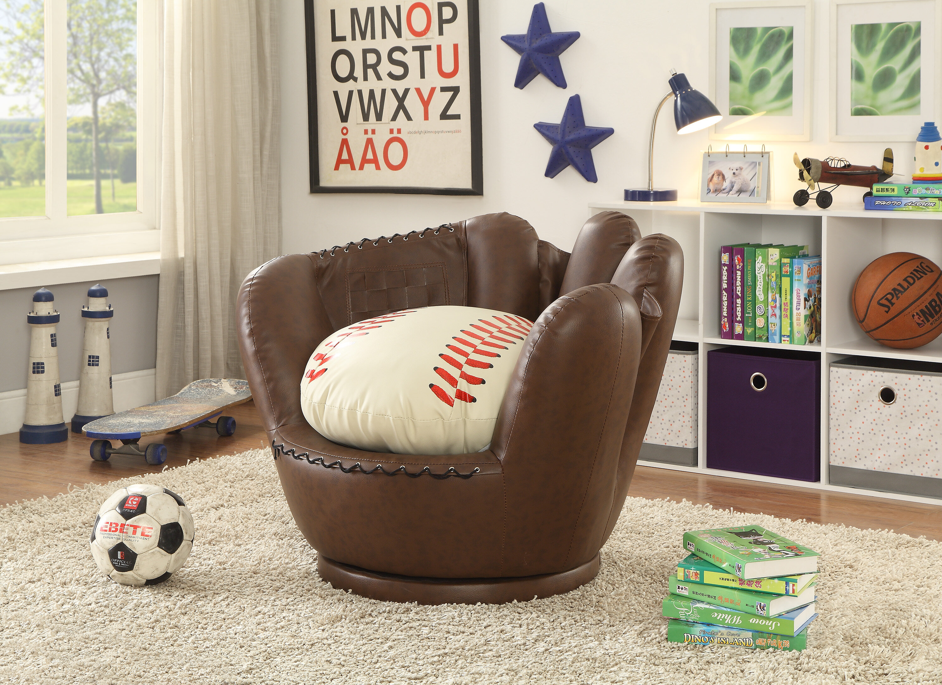 & Crown Mark Baseball Glove Kids Faux Leather Chair | Wayfair