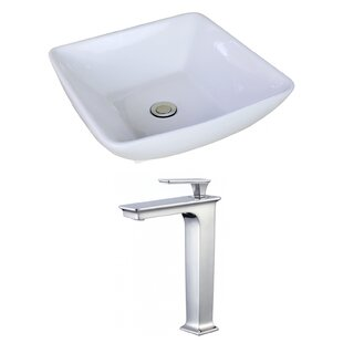 American Imaginations Ceramic Square Vessel Bathroom Sink with Faucet and ..