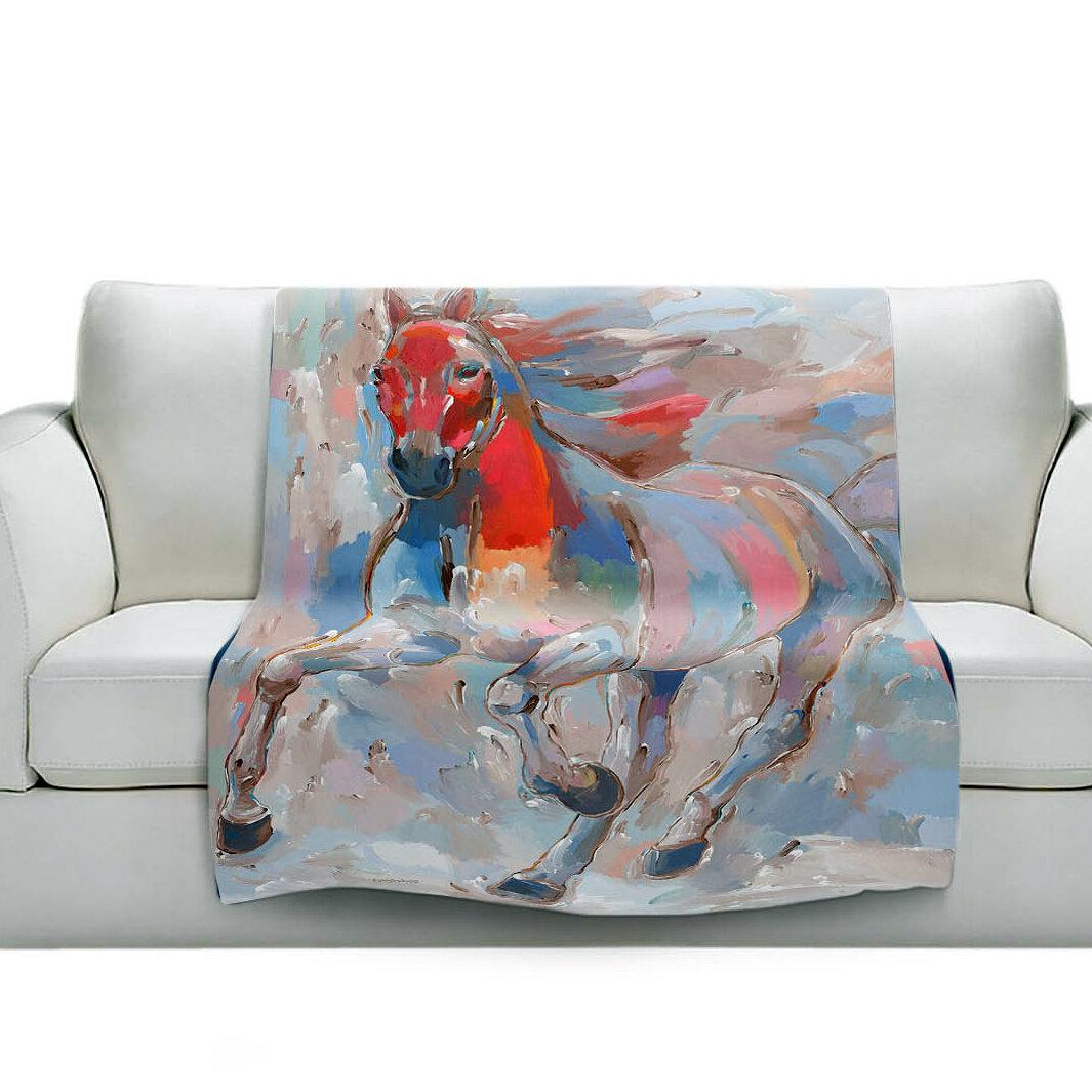East Urban Home Equine Elegance Ii Horses Soft Sherpa Blanket Wayfair