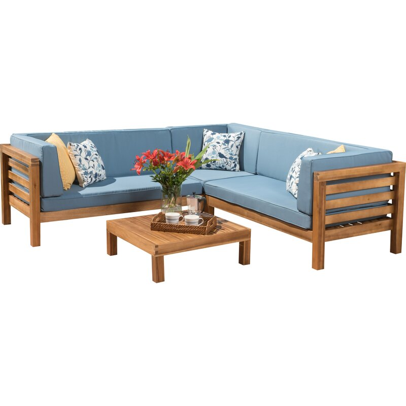 Brayden Studio  Seaham 4 Piece Sectional Set with Cushions Cushion Color: Blue