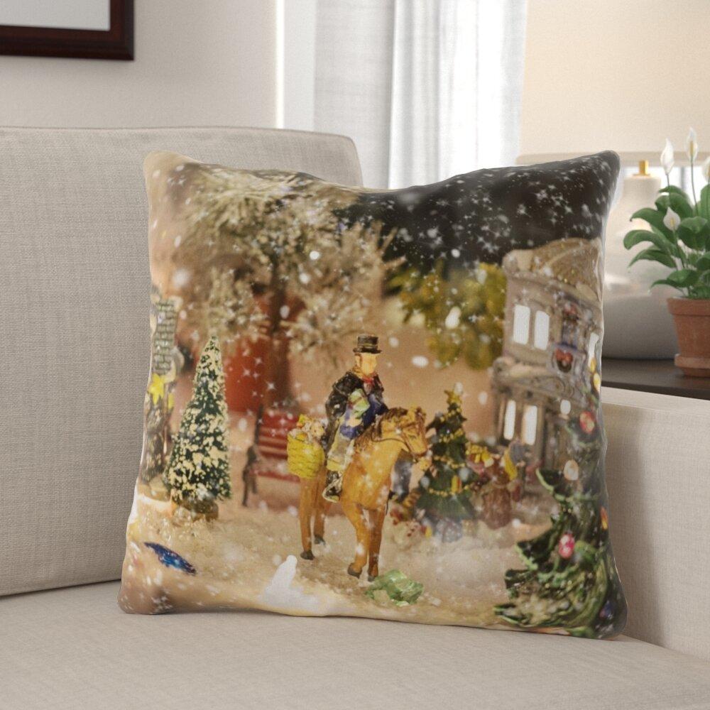 The Holiday Aisle Brashear Christmas Village Indoor Outdoor Canvas Throw Pillow Wayfair