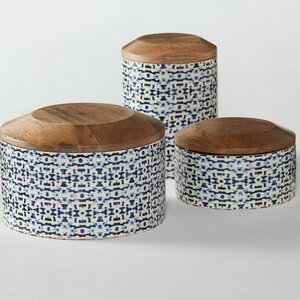 Enamel Coated Mango Wood 3 Piece Kitchen Canister Set