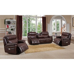 Amax Sanford Reclining 3 Piece Leather Living Room Set