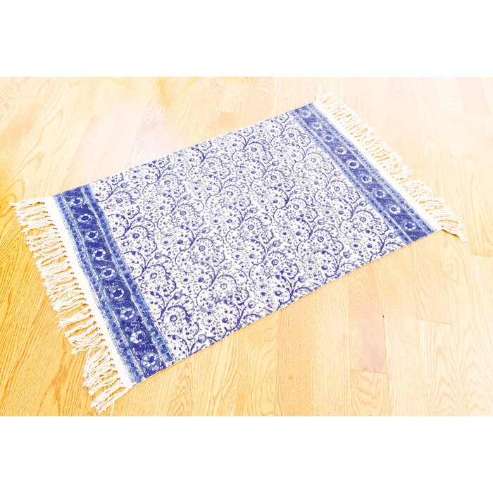 One Of A Kind Knox Fl Block Printed Handmade 2 X 3 Dhurrie Cotton Blue White Area Rug