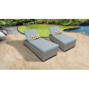 Monterey Outdoor Chaise Lounge with Cushion (Set of 2)