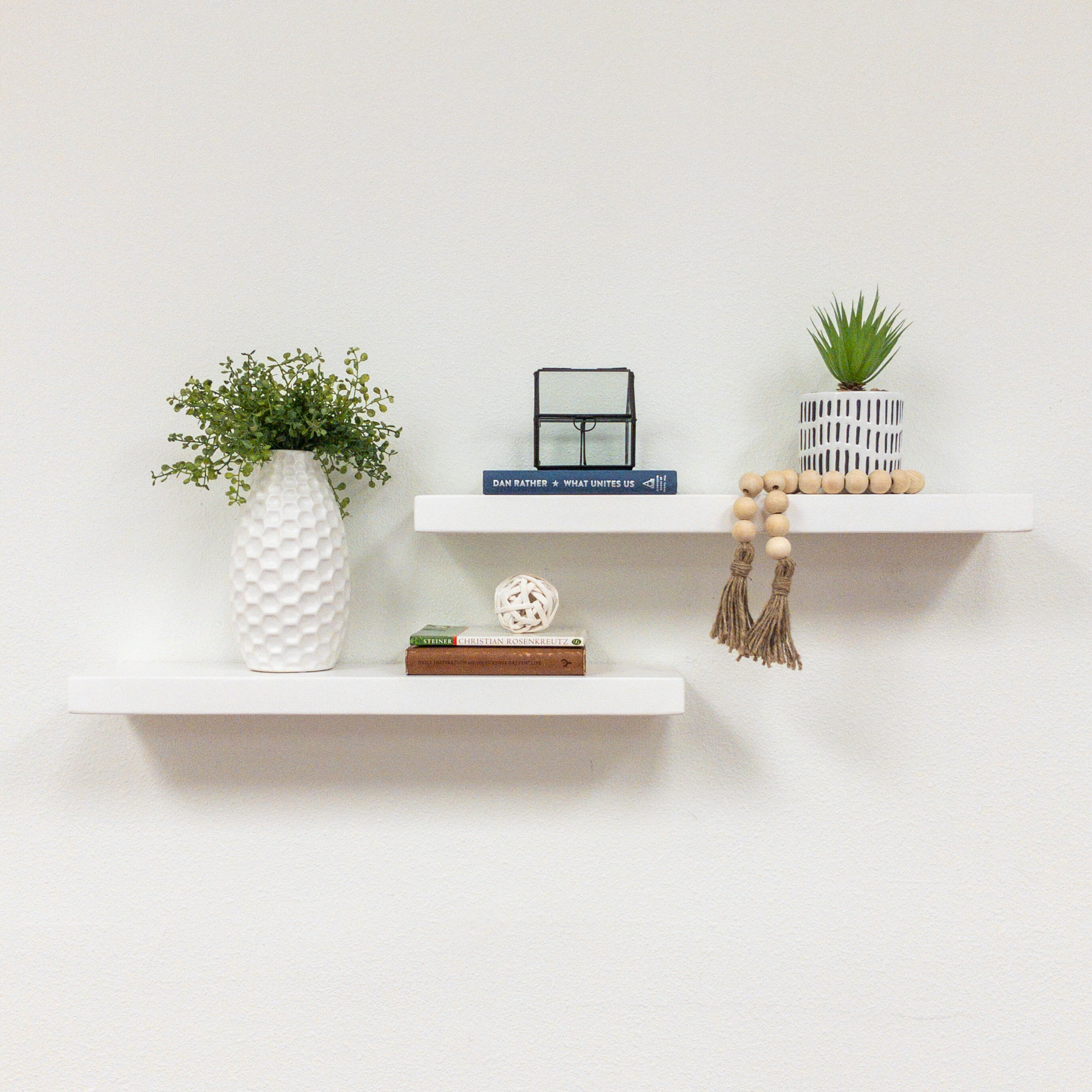 Floating White Wall Display Shelves Free Shipping Over 35 Wayfair