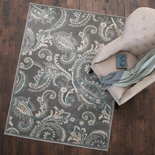 Knudtson Gray Paisley Area Rug by Andover Mills