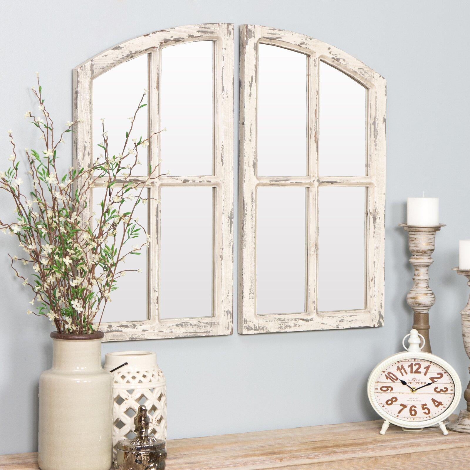 Kissena Window Pane Farmhouse Farmhouse / Country Distressed Mirror