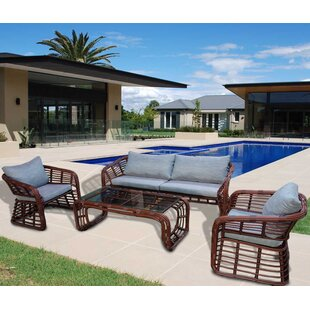 Gallatin 4 Piece Sofa Set with Cushions By Bayou Breeze