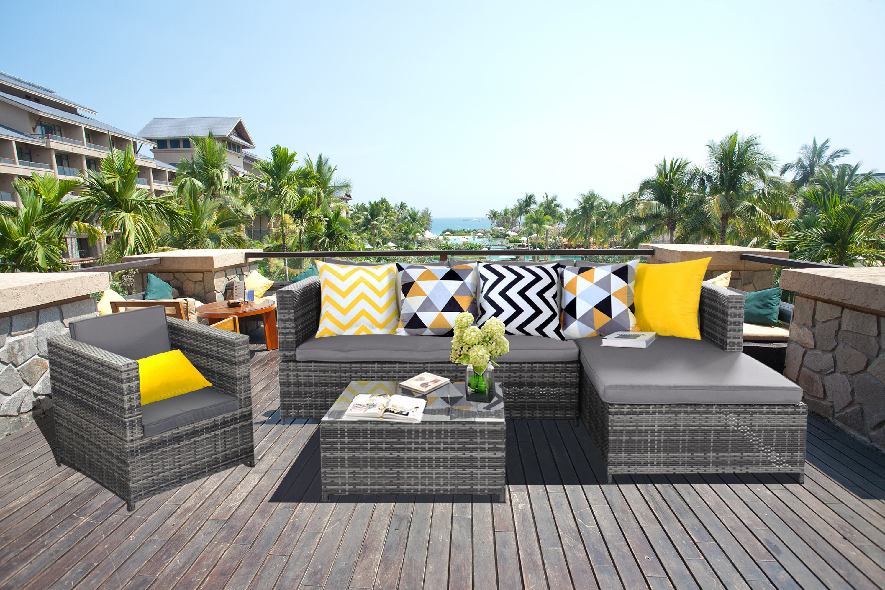 Strange Magari Furniture Sj 14067 Complete 4 Piece Pe Wicker Rattan Pool Patio Garden Chaise Lounge Set With Cushions Grey Home Interior And Landscaping Ologienasavecom