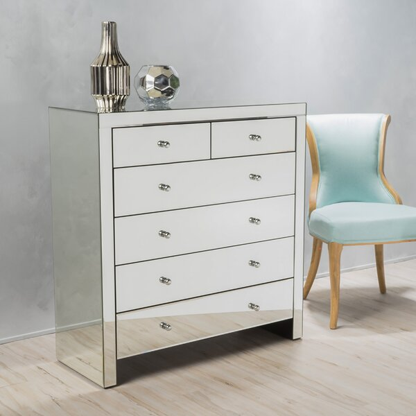 dresser furniture crystal table dressing chest drawer mirror rio mirrored
