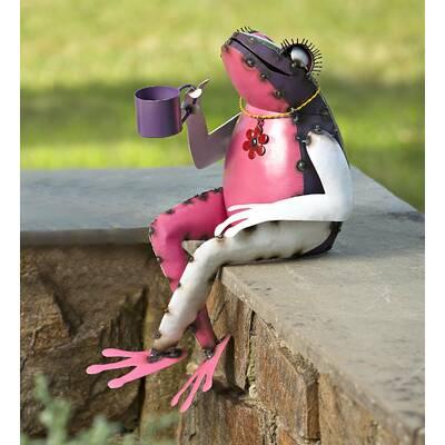 Tea Sipping Frog Garden Art