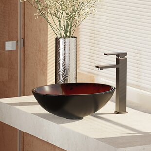 Look for Glass Circular Vessel Bathroom Sink with Faucet By René By Elkay
