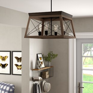 Delon 4-Light Unique/Statement Lantern Rectangle/Square Chandelier