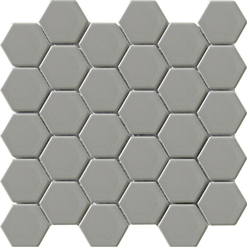 Vintage Glazed 2 X Porcelain Mosaic Tile In Gray Hexagon