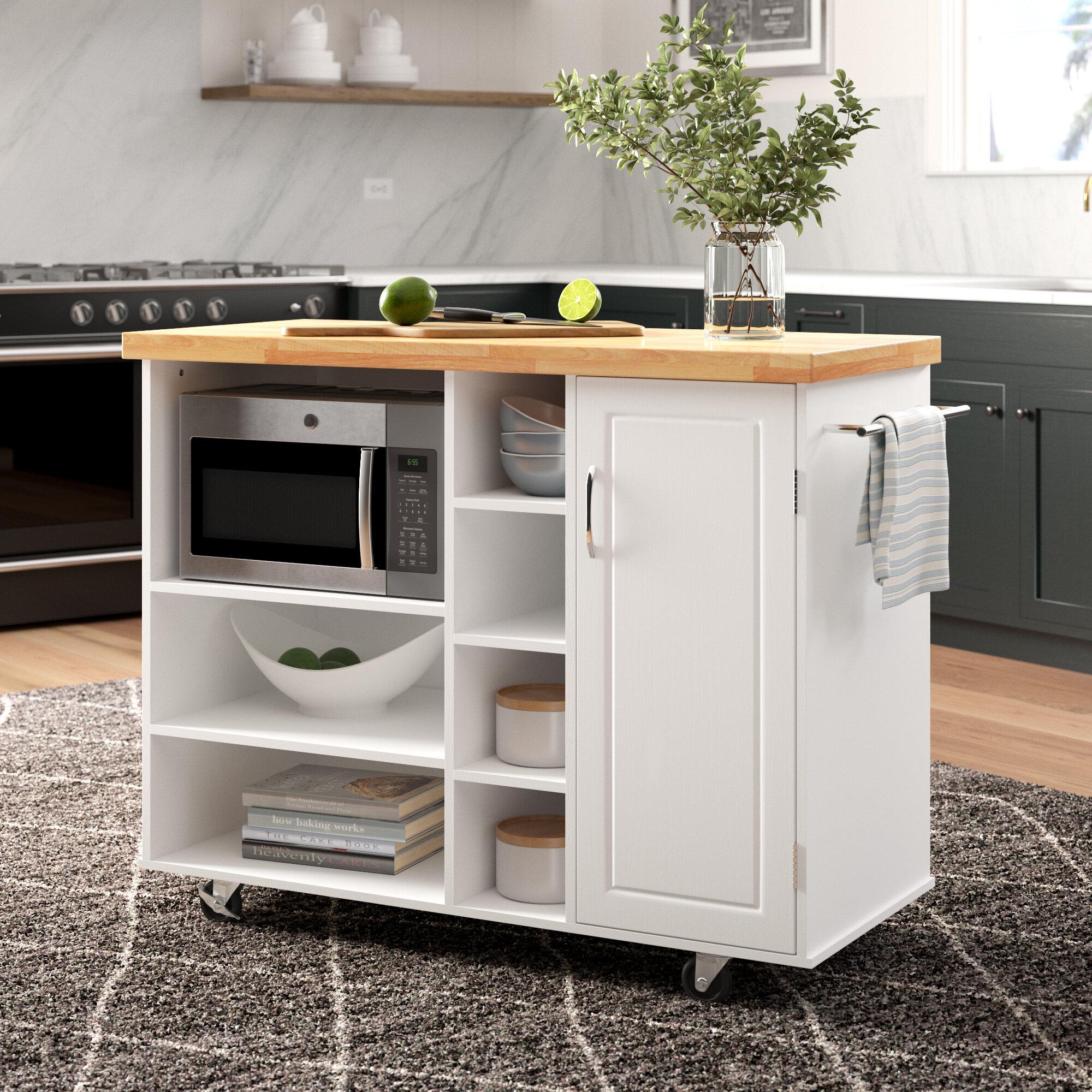 Ebern Designs Drolet Kitchen Cart Solid Wood Reviews Wayfair