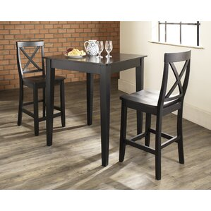 Pershore 3 Piece Pub Table Set with Tapered Leg Table and X-Back Barstools by Charlton Home