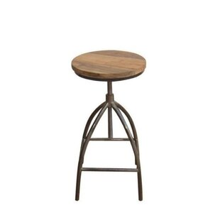 Abrahams Swivel Solid Wood Adjustable Height Short Stool by Foundry Select