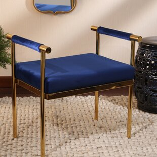 Oldene Upholstered Bench with Velveteen Seat by Mercer41