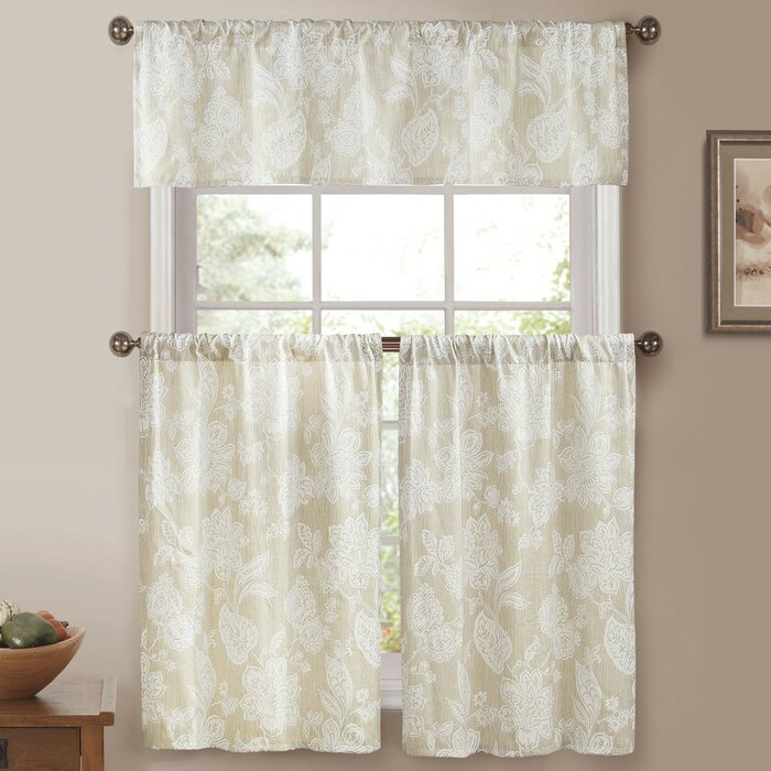 Alcester 3 Piece Linen Pole Top Jacquard Kitchen Curtain Set