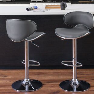 Criddle Curved Form Fitting Adjustable Height Swivel Bar Stool (Set of 2) Orren Ellis