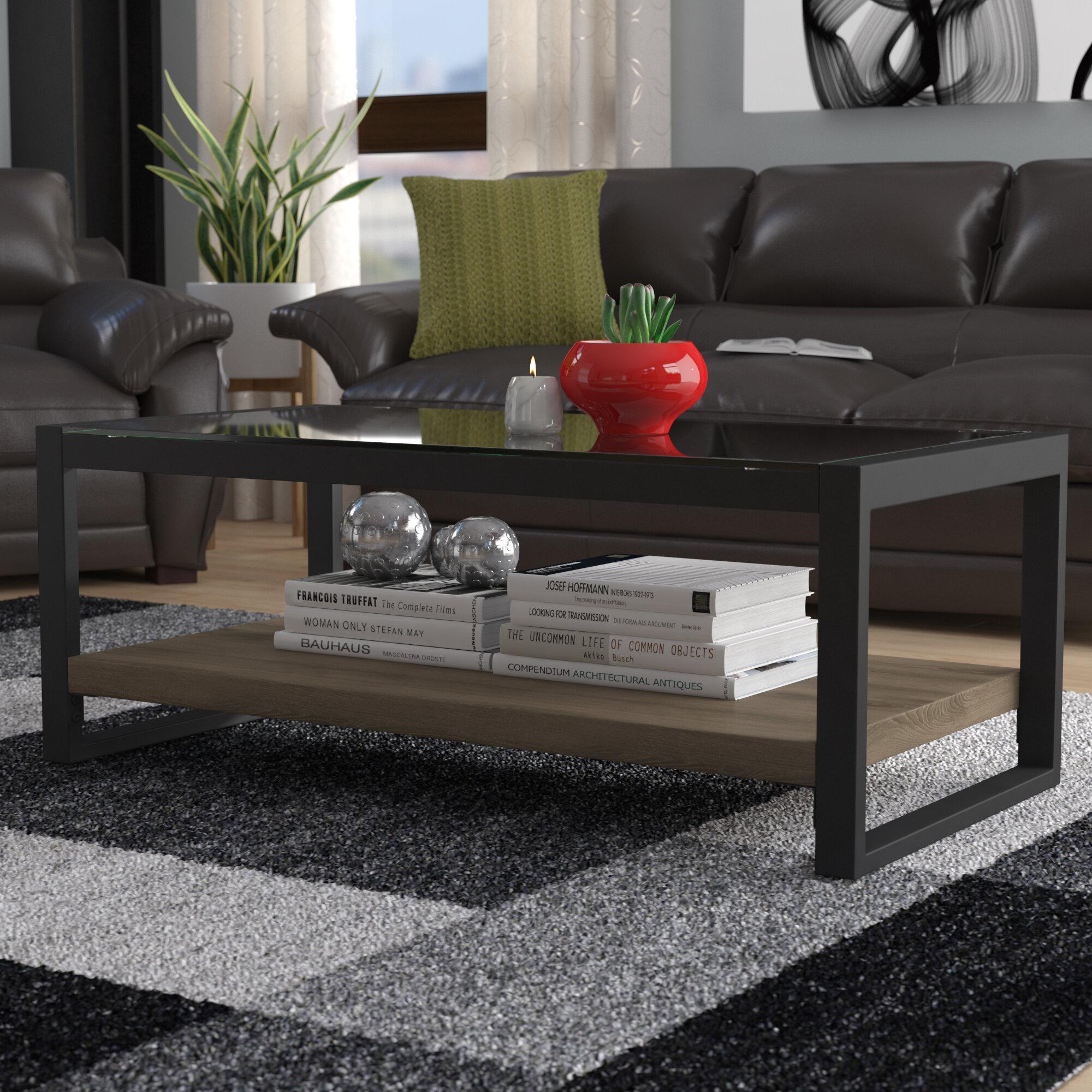 Mercury Row Theodulus Sled Coffee Table With Storage Reviews Wayfair