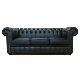 Lansdale Genuine Leather 3 Seater Chesterfield Sofa Bed By Williston Forge