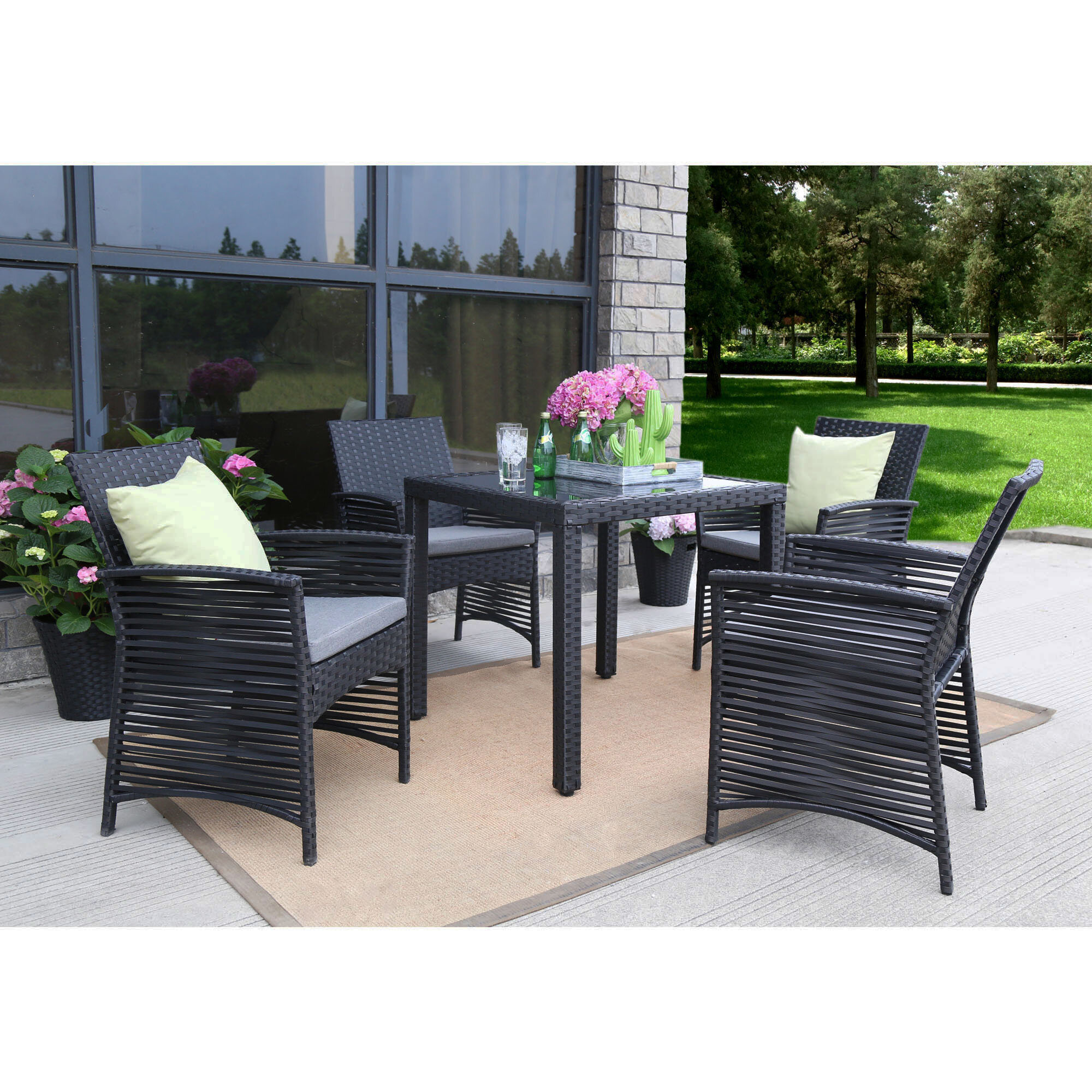 Bay isle home collingwood backyard steel frame 5 pieces dining set with cushions wayfair